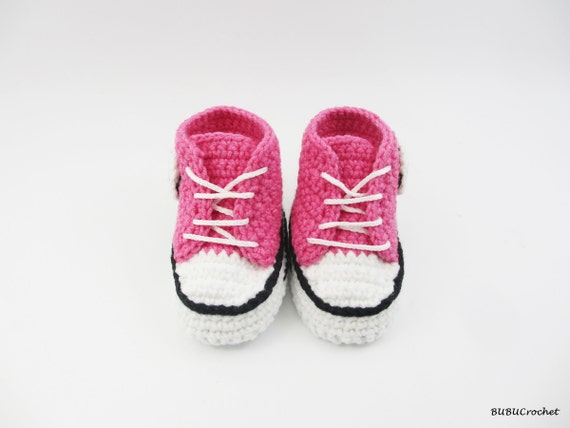 ca438dbb1590 good Pink Baby Shoes Baby Girl Shoes Crochet Baby Converse Style ...