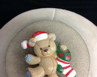 Vintage Signed Teddy Hugglesbie Christmas Teddy Bear Pin