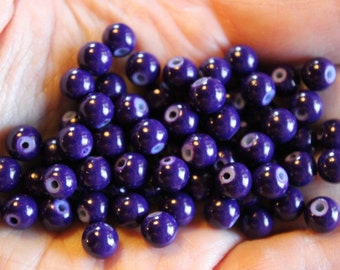 70 glass beads, 6 mm purple round and smooth, bubblegum style beads, baking painted