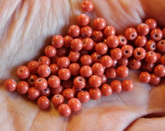 80 coral/orange bubblegum glass beads, baking painted, 4 mm, hole 1 mm, round and smooth