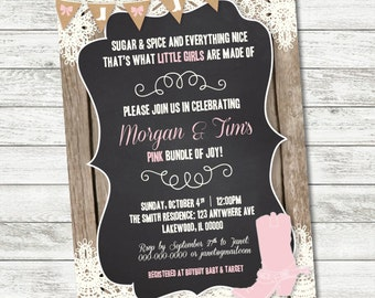 Boots & Bows Baby Shower Invitation