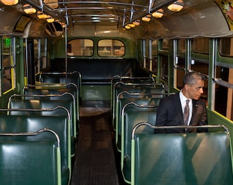 President Barack Obama, Rosa Parks Bus  -Photo Print
