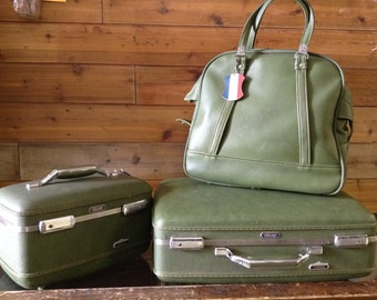 Vintage LuggageSuitcase Vintage Hard Shell 1960's 3 PC Green American Tourister Tiara Luggage Vinyl Suitcase No. 128