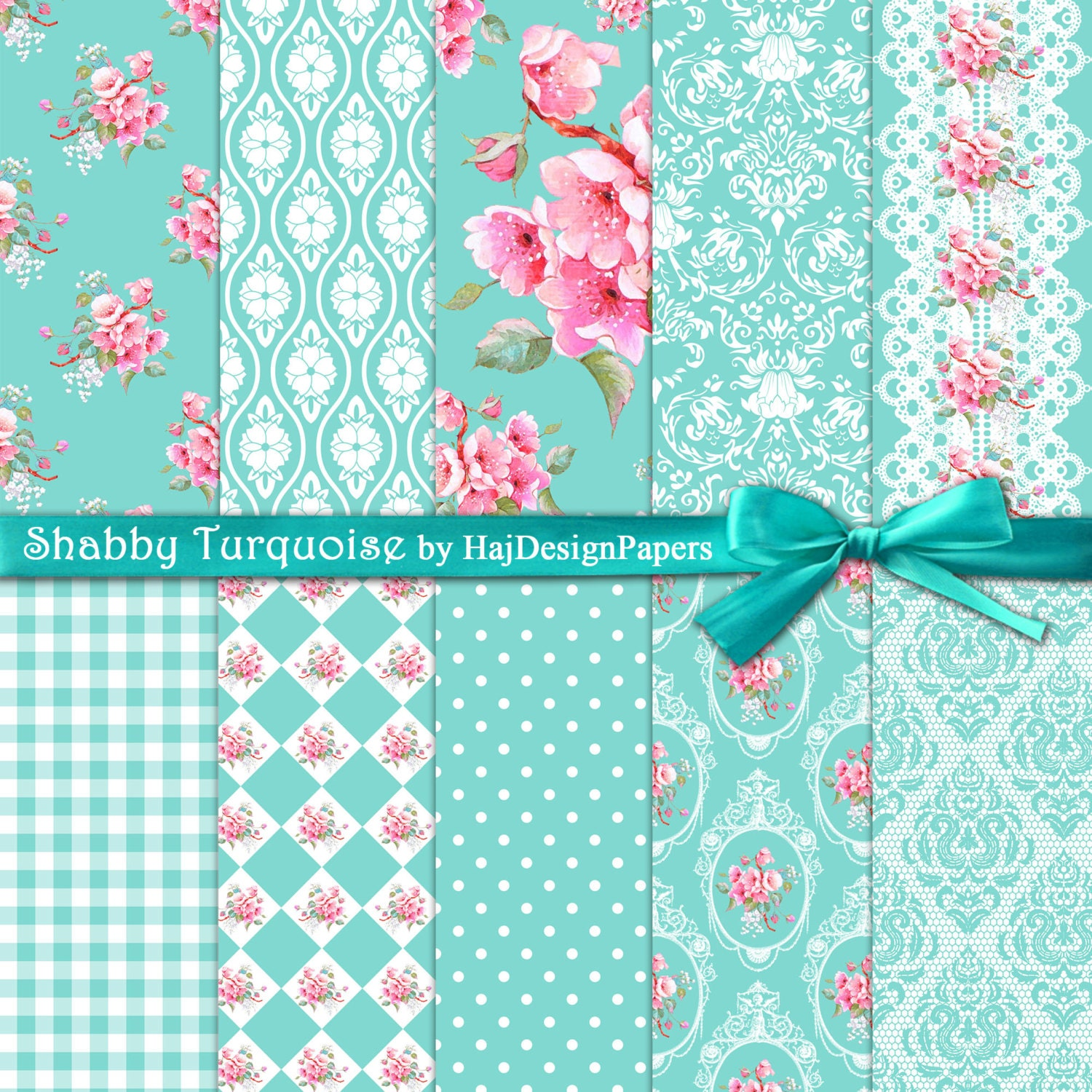 Turquoise Shabby Chic Bedrooms: Shabby Chic Digital Paper : Shabby Turquoise Teal