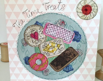 Tea Time Treats-Greeting Card- handfinished