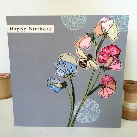 Sweetpea-Greeting Card- handfinished
