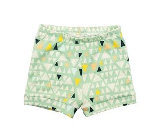 Baby Shorts, Toddler Shorts, Girls Shorts, Boys Shorts, Harem Shorts, Shorties, Bummies, Diaper Cover, Bloomers, Geometric Mojave Aloe