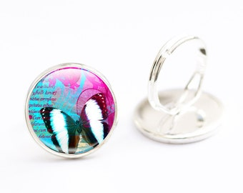 Butterfly Ring, Bright Butterfly jewelry,  Pink and Blue Butterfly Ring - Butterfly Statement Ring, Butterfly Glass Ring (BRBJ1)
