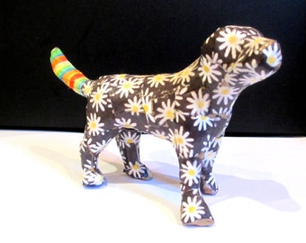 Papier mache Dog...decoupaged in daisies and stripes...Delightful fellow
