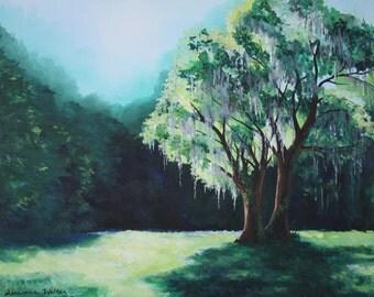 Oak Trees with Moss Painting Lime Green Aqua Charleston Landscape