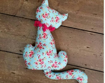 Novelty shaped kitty cat pillow / cushion. Floral. Home decor