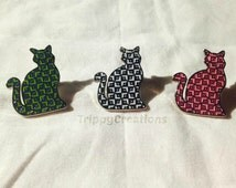 Limited edition Trippy cat hat pin set