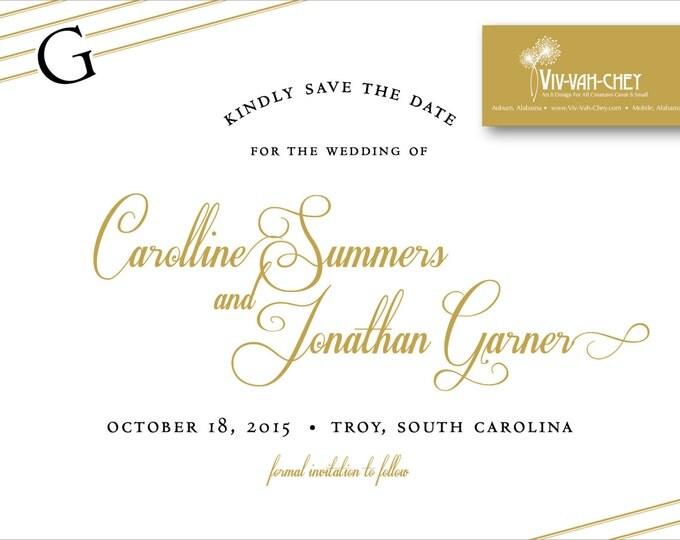 Gold Initial Script Postcard | Save the Date
