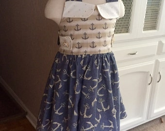 """New nautical inspired  """"sail away with me"""" sweet anchor dress"""