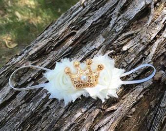 Beautiful Ivory shabby floral headband with a golden sequin princess crown accent