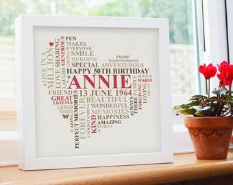 Framed Birthday Print. 21st, 30th, 40th, 50th, 60th, 70th 80th Personalised birthday gift. Happy birthday. Heart wife friend gift.
