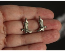 10 pcs Cowboy Boots with Spur Charms (doublee sided) Antique Silver 17mm x 13mm (BR1482)