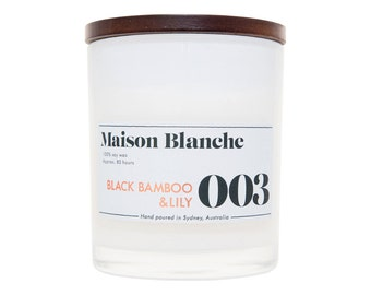 Black Bamboo & Lily Soy Candle. Hand-poured. 80 hr burn time.