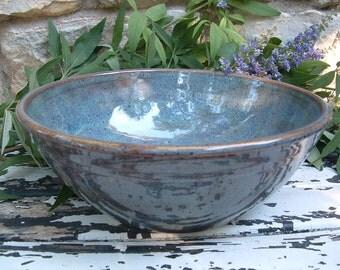 Blue stoneware serving bowl