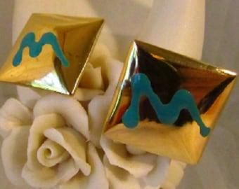 Vintage Square Earrings, Modern Geometric Design Earrings, Pierced Gold Tone Blue Earrings, Unique Retro Earrings, Enamel Paint Earrings