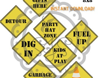 Construction Party Printable 8x8 Signs