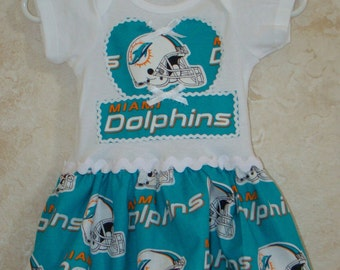 DISCONTINUING ITEM, Football Appliqued One piece Romper, made with Miami Dolphins fabrics, Dolphins Onesie, Dolphins Tees, Sports Rompers