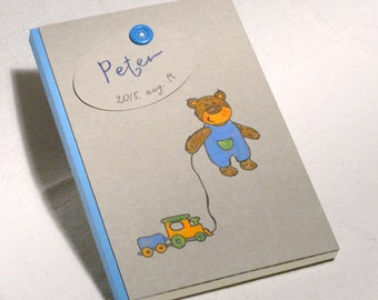 Baby Boy Journal, Memory Album, Personalized Baby Shower Gift, Blank Book for New Baby, Hand Painted Design Teddy Boy, New Born Gift