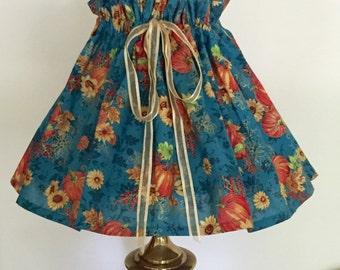 Fall Decoration - Turquoise Lamp Shade - Sunflower Decor - Pumpkin Decor - Hostess Gift - Housewarming Gift - Thanksgiving Decor