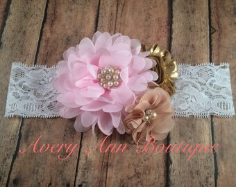 Pink Couture Headband, Pink Baby Headband, Girl Pink Headband, Pink and Gold Birthday Headband, Gold Headband, Flower Girl Headband