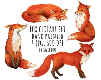 Fox Clipart, Watercolor Illustration, Forest Images, Tree, Autumn, cute, whimsical, woodland, scrapbooking, invitation, wild animals