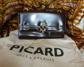 PICARD brown patent leather hand shoulder bag Made in Germany