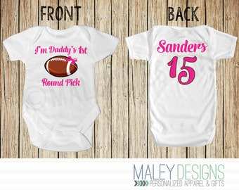I'm Daddy's 1st Round Pick Football Bodysuit, Team Daddy Outfit, Baby Girl, You Pick the Colors, Name, & Number!