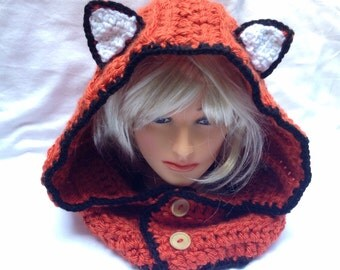 Adult Fox Hood Halloween/Winter