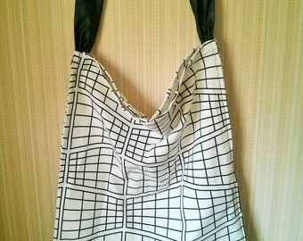 Handmade Oversized Geometric pattern Canvas Tote with black faux leather strap