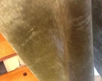 Green velour upholstery fabric