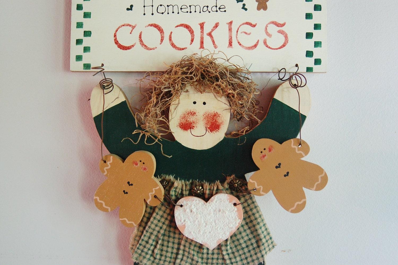 Primitive Christmas Wall Decor : Primitive girl gingerbread cookies wall decor christmas