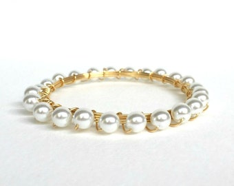Pearl + Gold Bangle