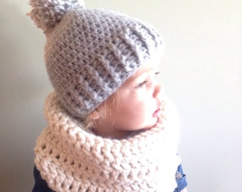 Pom pom winter hat, kids toboggan, child knit hat, modern knittted hat, beanie with a pom pom, winter crochet hat, unisex knitted hat