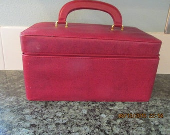 Faux Red Leather Make-up/Over-night/Week-End/Travel Case by Liz Claiborne