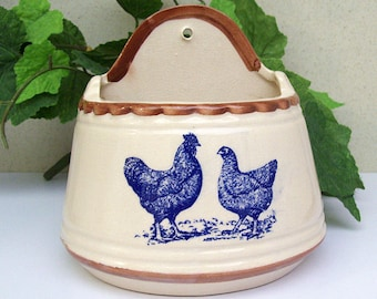 Vintage 1970's ROOSTER and CHICKEN Salt Box – Hand Painted and Blue Transfer – Ceramic – Pottery – No Lid -