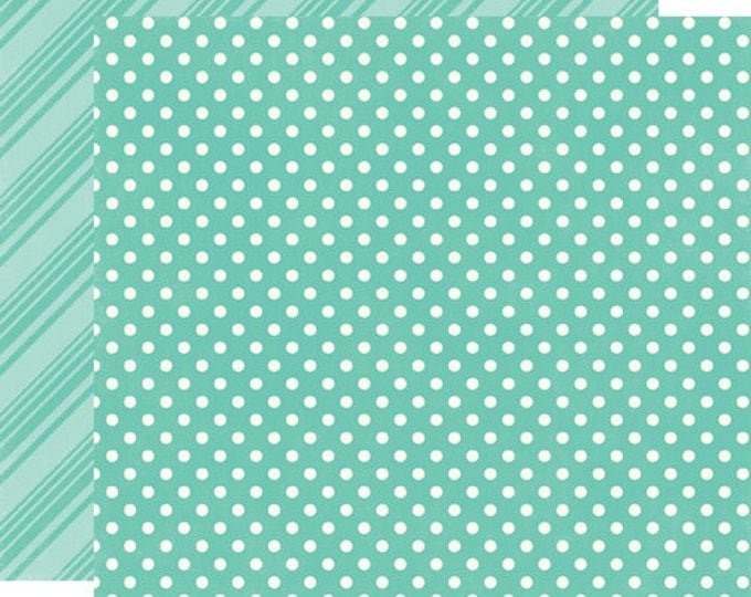 2 Sheets of Echo Park Paper DOTS & STRIPES Brights 12x12 Scrapbook Paper - Teal (DS15028)