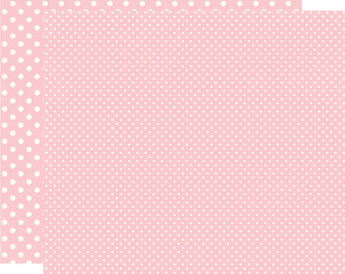 2 Sheets of Echo Park Paper DOTS & STRIPES Valentine 12x12 Scrapbook Paper - Blush (2 Sizes of Dots/No Stripes) DS15060