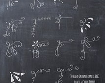 BUY2GET1FREE- 30 Hand drawn corner clipart, chalk and black- Scrapbook embellish- Invitation-Chalkboard-Blog graphics- commercial use
