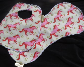 Chenille baby girl mustang bib and burp cloth set - super absorbent & ready to ship!