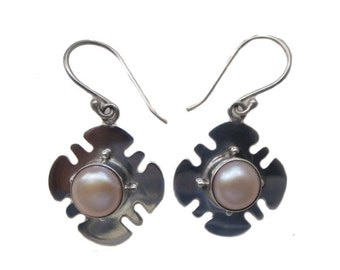 925 Sterling Silver and White Mabe Pearl Earrings