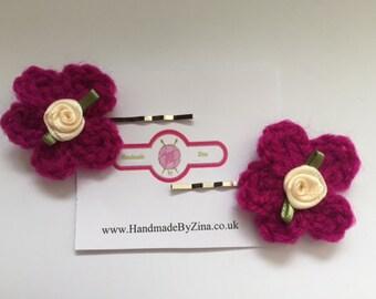 Crochet Flower Bobby Pins Hair Clips in Magenta