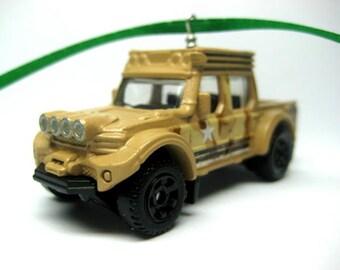 Off-Road Quad-Cab Military Swamp Jeep Truck Matchbox Ornament