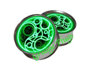 """Dr Who Time Lord Plugs GREEN - 1 Pair (2 plugs) - Sizes 8g to 2"""" - Made to Order"""