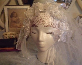 Wedding or 1st communion veil and head piece