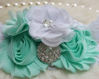 Aqua Headband/Flower Girl Headband/Baby Headband/Infant Headband/Newborn Headband/Toddler Headband/Girls Headband/Girls Headband